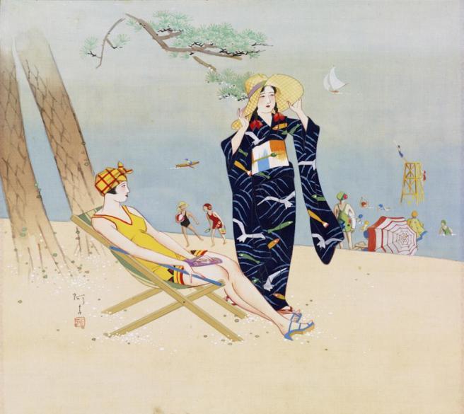 Fig. 4. Kaisuiyoku no Zu (Scene of Swimming in the Ocean), Ako Fujiki [c. 1930]. From the Honolulu Museum of Art.