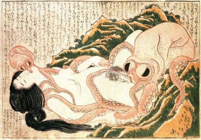 Fig. 1. The Dream of the Fisherman's Wife, Katsushika Hokusai [1814]. WikiArt, accessed April 20, 2020.