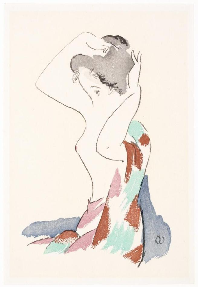 Fig. 14. Young Woman Coifing Her Hair. Takehisa Yumeji. [c.1912-24]. From the Honolulu Museum of Art.